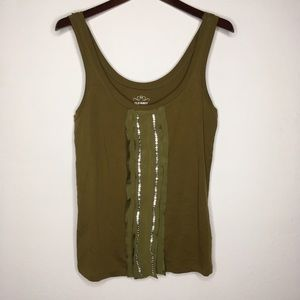 Old Navy Olive Tank w/Ribbon & Sequin Detail S